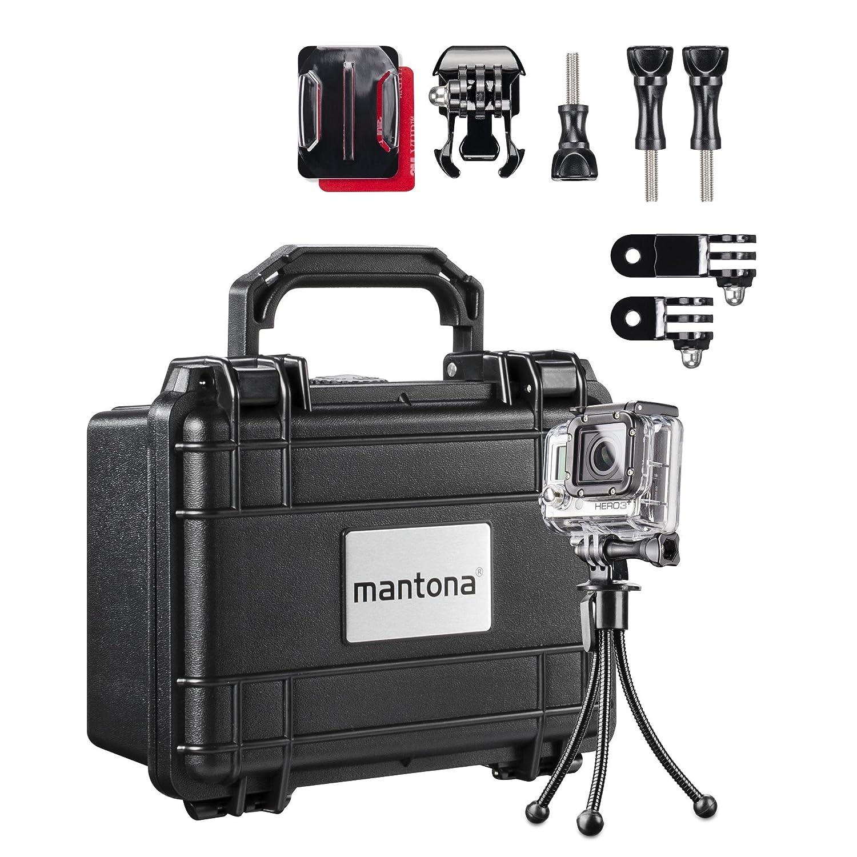 Mantona Koffer M Aufbewahrungsset für GoPro Kamera inkl. Koffer Größe S, Tischstativ und Adapterset 20527