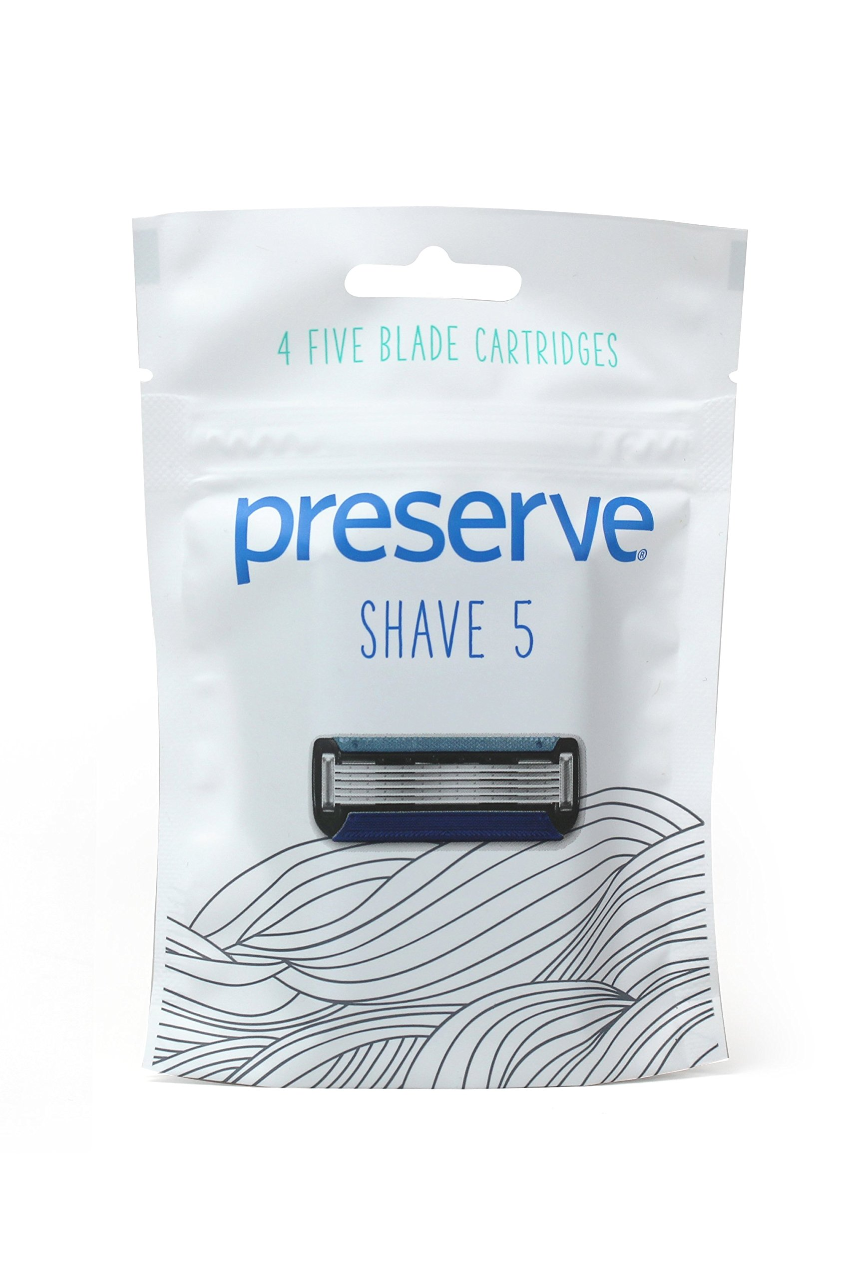 Preserve Five Blade Replacement Cartridges for Preserve Shave Five Recycled Razor, 4 Count