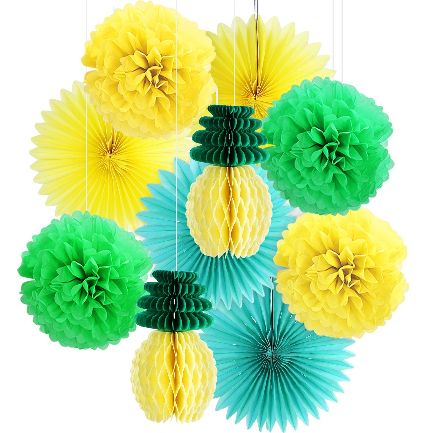 BBTO 10 Pieces Hawaiian Party Decor Set Pineapple Pattern Paper Honeycomb Tissue Paper Fan Pom Poms for Birthday Tropical Luau Party Decoration