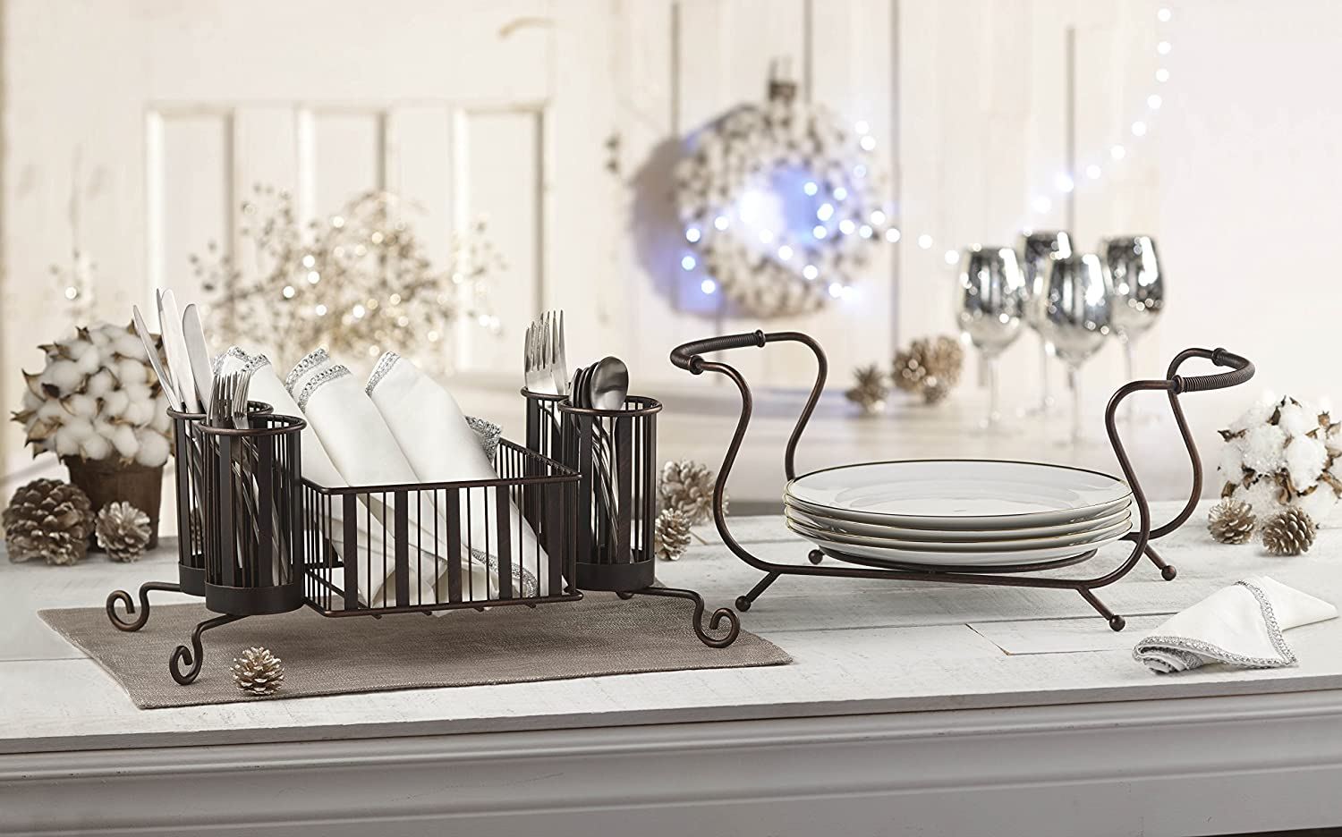 Amazon.com - MESA Delaware Buffet Silverware Caddy Dinner Plate Holder (Antiqued Black Finish) - Kitchen Storage And Organization Product Accessories & Amazon.com - MESA Delaware Buffet Silverware Caddy Dinner Plate ...