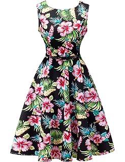 faee880463a8d Amazon.com: Clearance Plus Size Hawaiian Leaf Midi Boho Dress Women ...