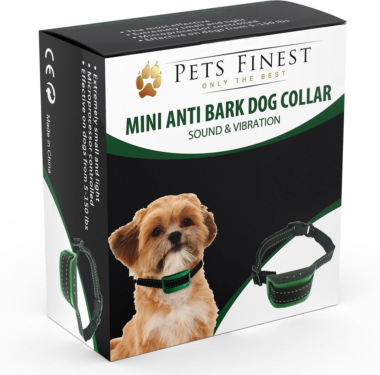 Anti Bark Dog Collar by Pets Finest - Sound & Vibration Anti Bark Dog Collar
