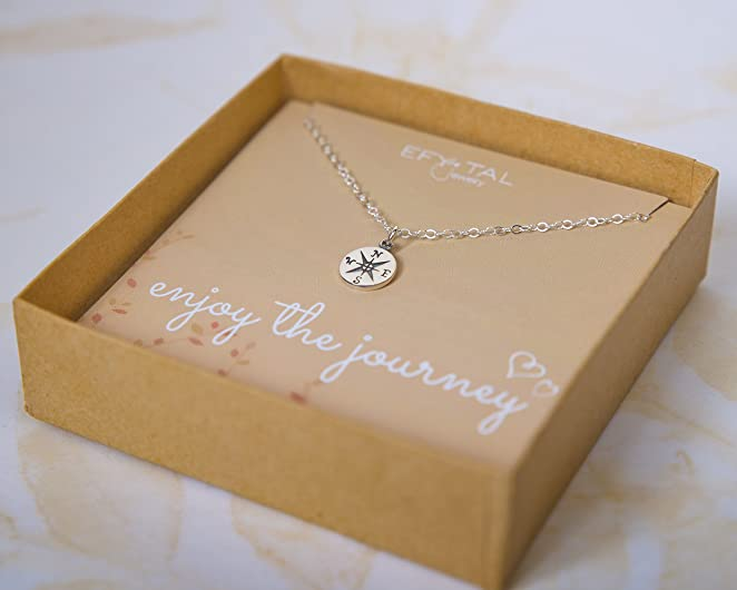 Mother's Day gifts for traveling moms - compass necklace