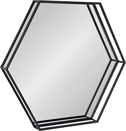 Kate and Laurel Felicia Modern Hexagon Mirror, 30 x 30 , Black, Geometric Accent Mirror for Wall