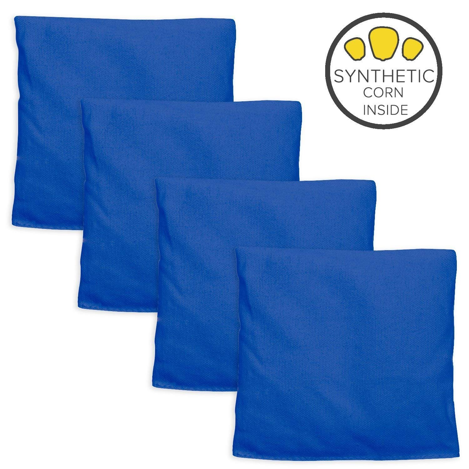 Play Platoon Weatherproof Duck Cloth Cornhole Bags - Set of 4 Blue Bean Bags Corn Hole Game - Made Corn-Shaped Synthetic Corn