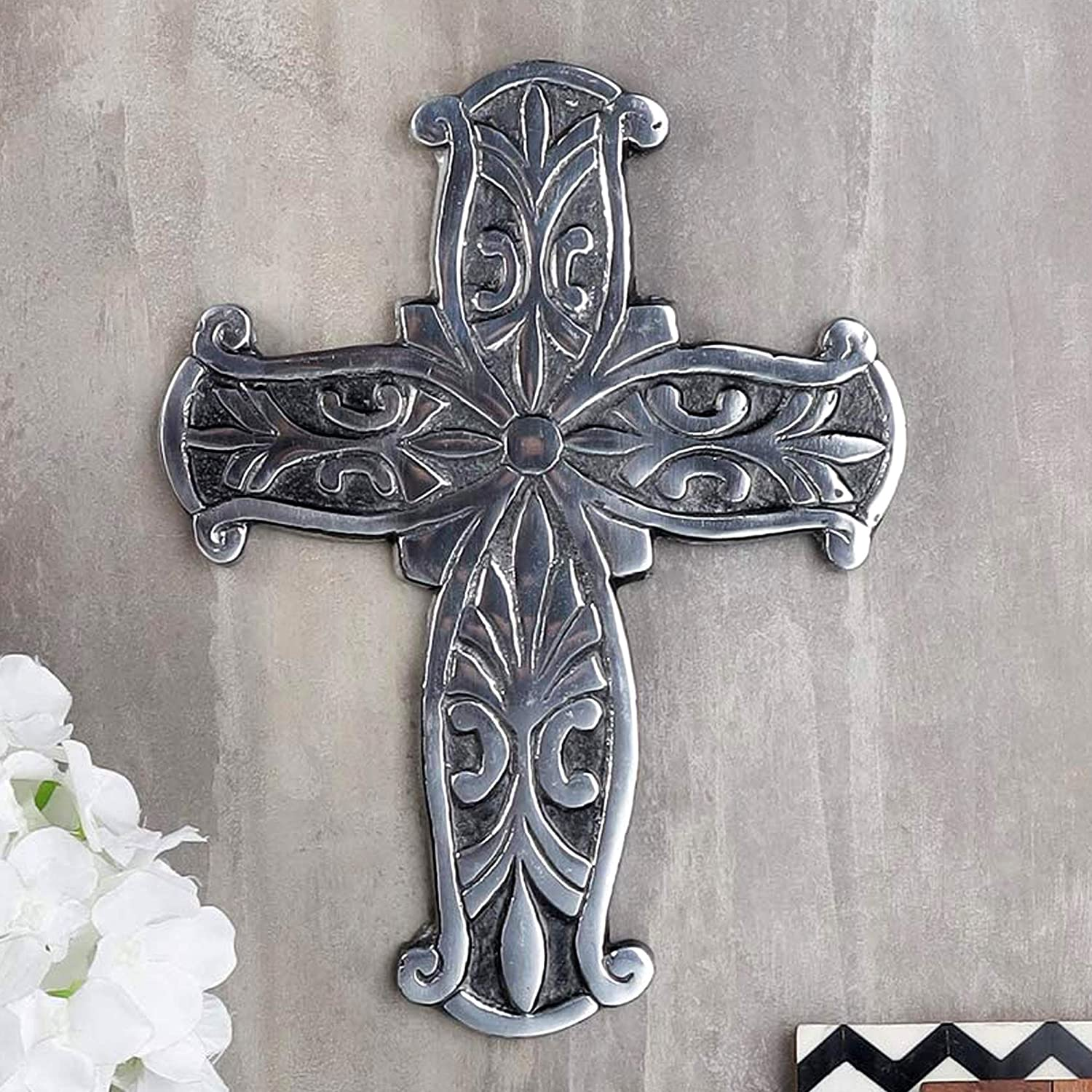 Ardour Antique Silver and Black Wall Cross for Home Decor.Metal Hanging decorative crosses wall decor - 7.2 x 9.5 Inches