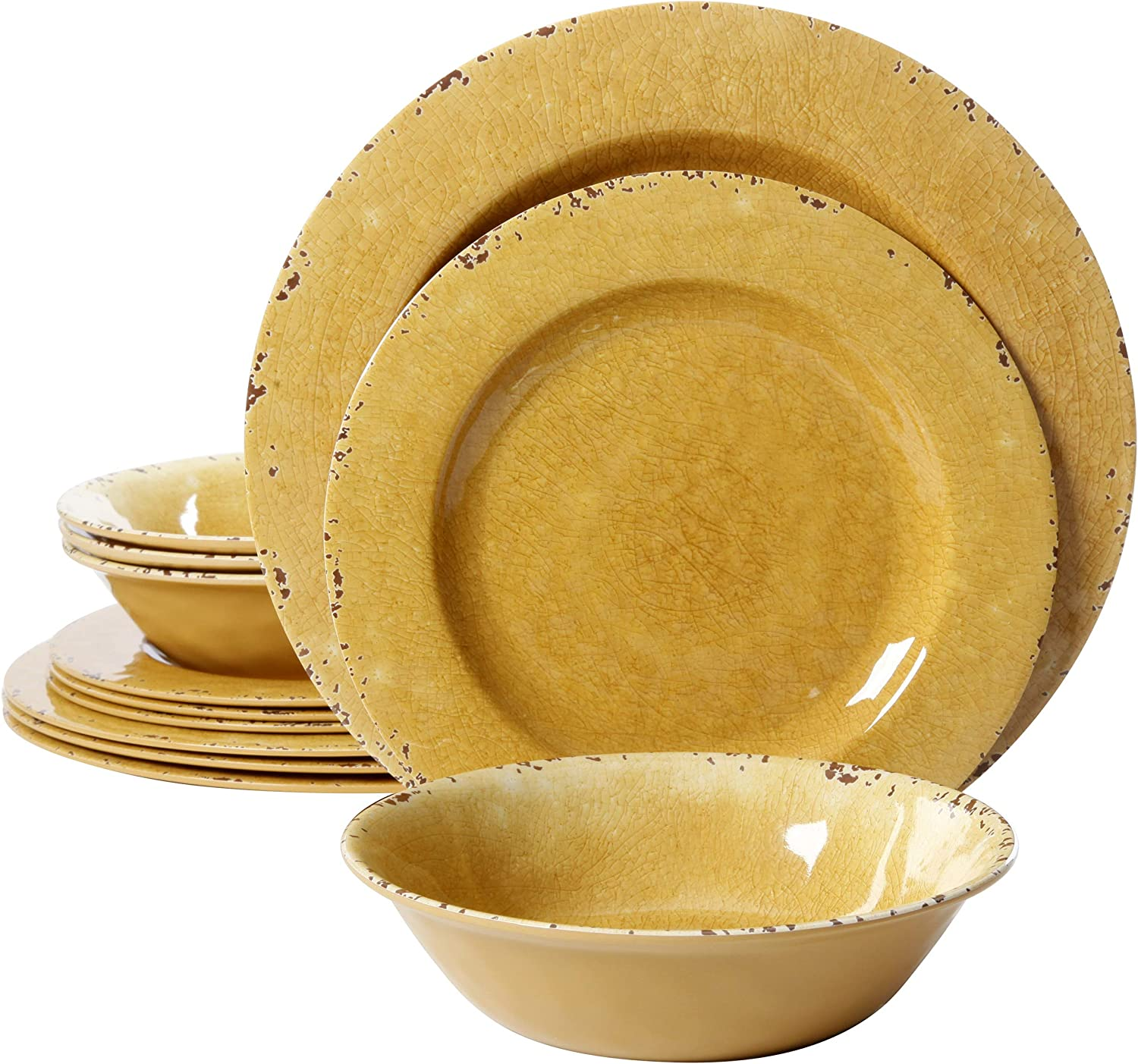 Gibson Studio 107292 12 Line By Laurie Gates 12 Piece Mauna Melamine Dinnerware Set Of 4 Golden Yellow Amazon Ca Home Kitchen