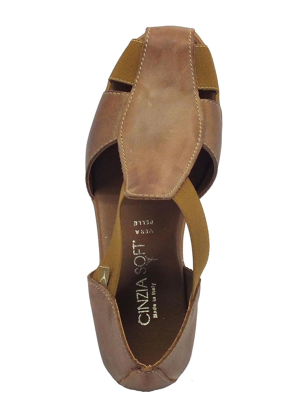 Cinzia Soft Mocassini per Donna Pelle Marrone Marrone Marrone Zeppa 4cm  Bark 22852f