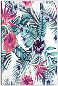 Flowers Bird Paradise Hibiscus Plumeria Palm,Gifts for Couples,Home Decoration,12''x16''