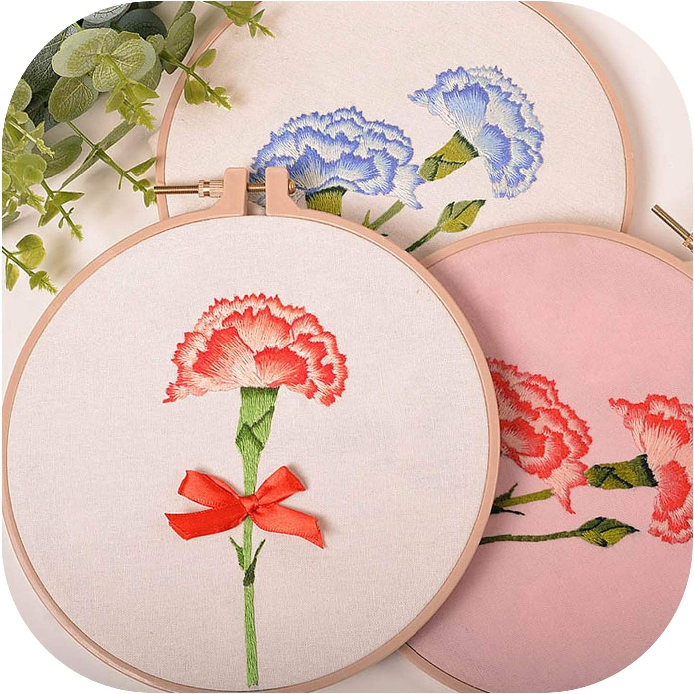 DIY Carnation Flower Embroidery Kits with Hoop Flower Printed Needlework Cross Stitch Sets Handmade Craft Sewing Art Home Decor,1,20cm Bamboo Hoop