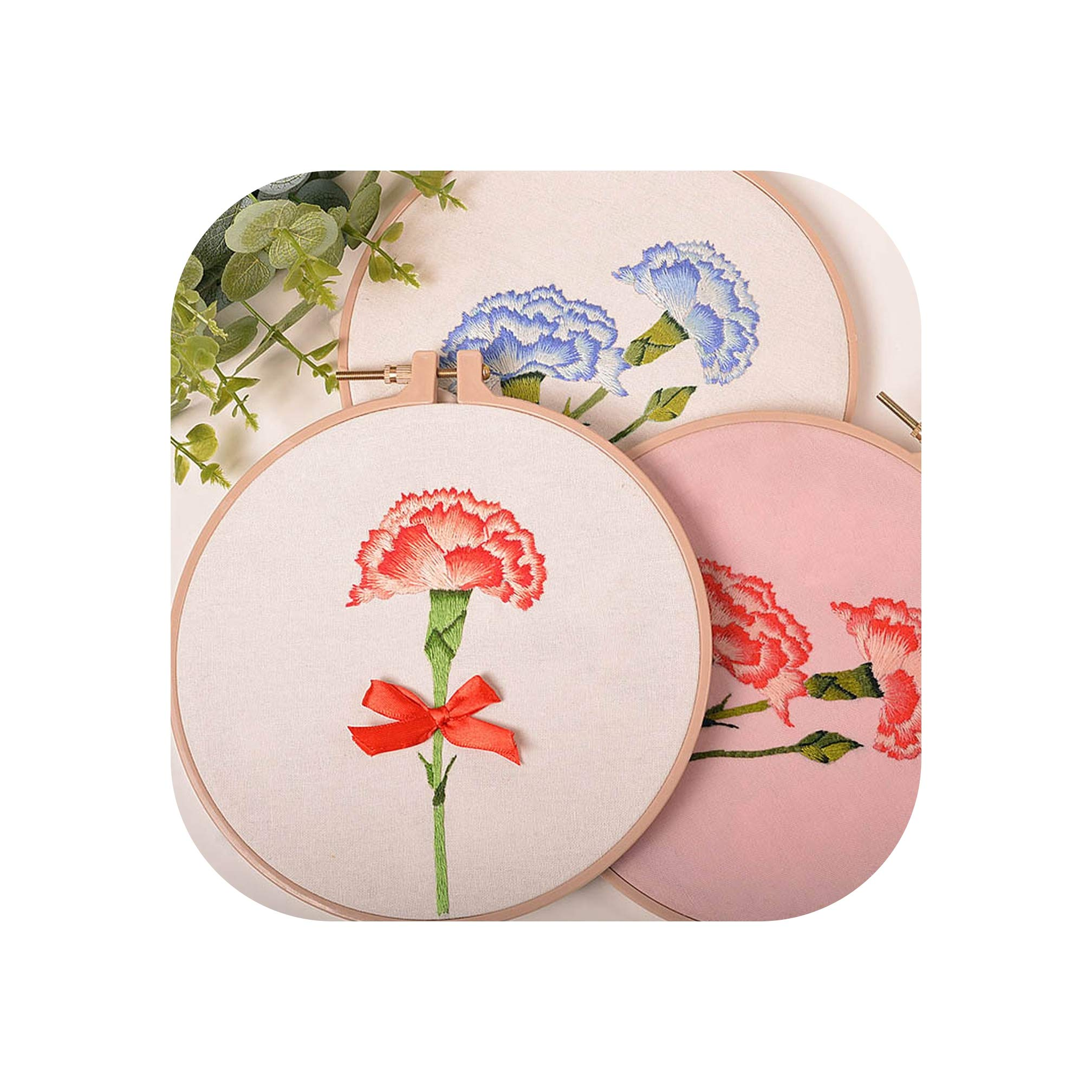 DIY Carnation Flower Embroidery Kits with Hoop Flower Printed Needlework Cross Stitch Sets Handmade Craft Sewing Art Home Decor,3 pcs,20cm Plastic Hoop by koweis