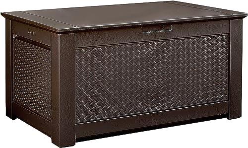 Rubbermaid Patio Chic Plastic Storage Bench, Dark Teak Basket Weave, 1837304