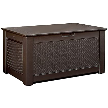 Super Rubbermaid Patio Chic Plastic Storage Bench Dark Teak Basket Weave 1837304 Gmtry Best Dining Table And Chair Ideas Images Gmtryco