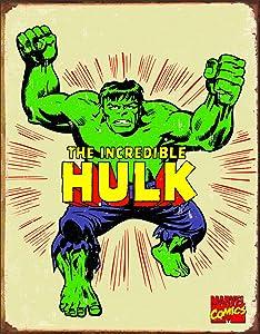 "Desperate Enterprises The Incredible Hulk Retro Tin Sign, 12.5"" W x 16"" H"