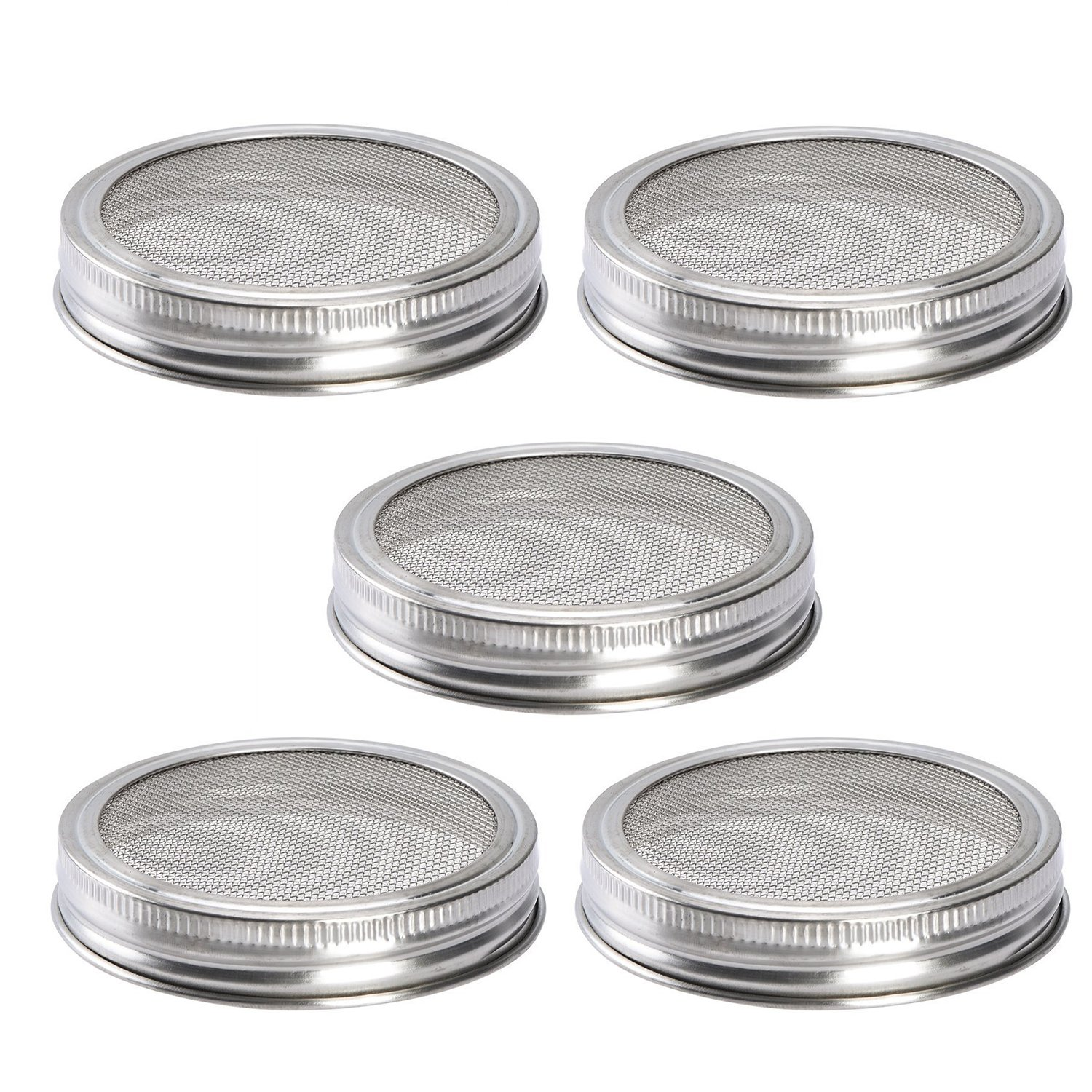 Sprouting Lids Kit Stainless Steel Screen Lid for Wide Mouth Mason Jars Canning Jars - Organic Sprout Seeds Strainer (Pack of 5)