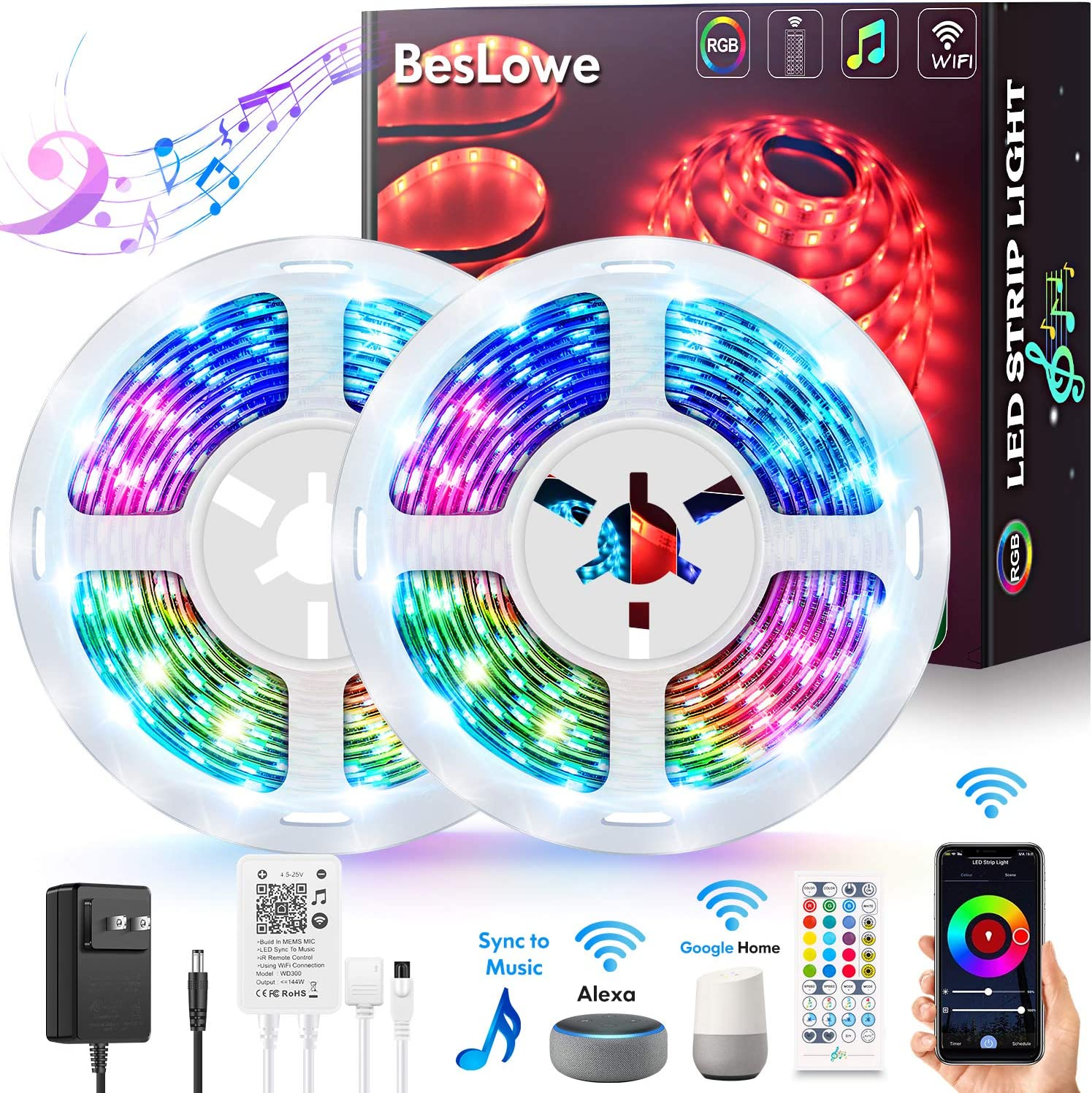 Smart WiFi LED Strip Lights 32.8ft, Works with Alexa & Google Home, Wireless APP & IR Remote Control, Bright RGB Color Changing SMD 5050 Tape Lights Kit with Adapter, Music Sync for Home Bedroom Party