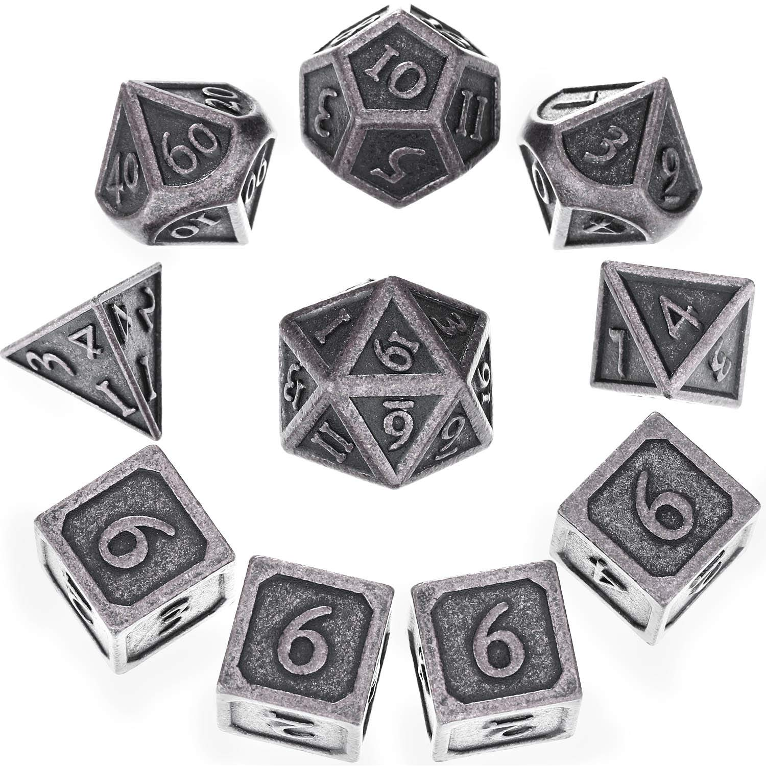 Hestya 10 Pieces Metal Dices Set DND Game Polyhedral Solid D&D Dice Set with Storage Bag and Zinc Alloy with Printed Numbers for Role Playing Game Dungeons and Dragons, Math Teaching (New Nickel)