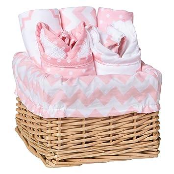Baby Feeding Basket Gift Set Charming Willow Basket Burp Bib Cloths Pink Sky 7Pc