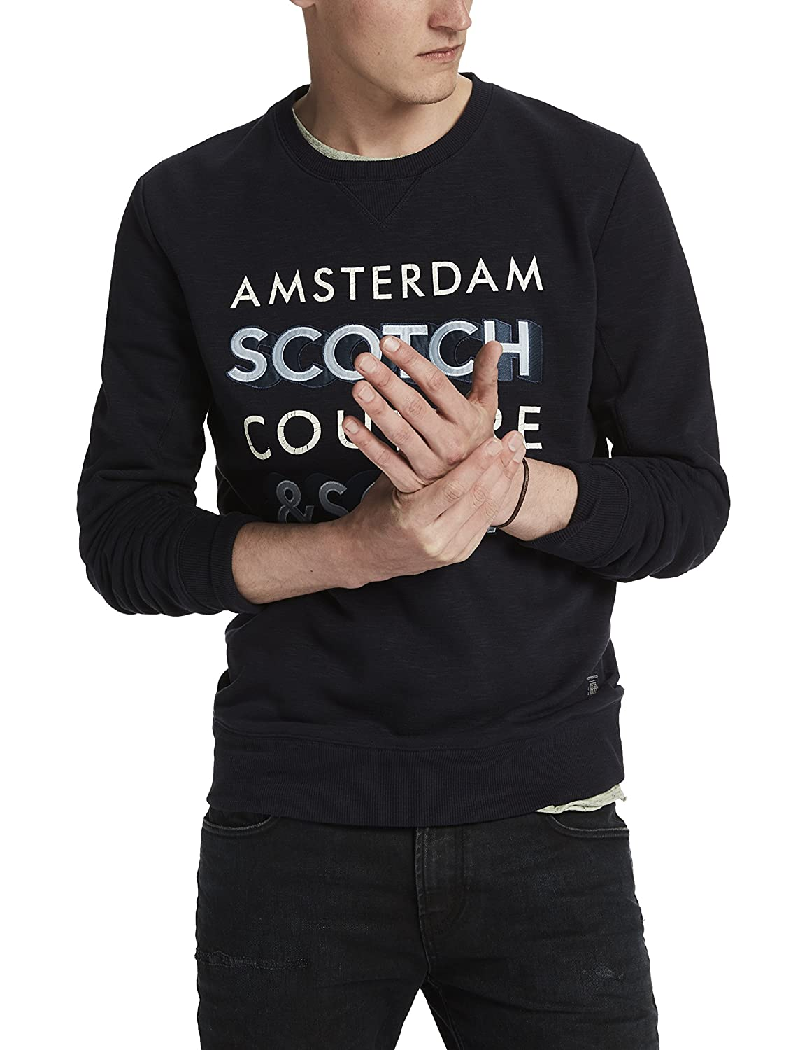 Scotch & Soda Herren Sweatshirt Crewneck Sweat in Brushed Felpa Quality with Artwork