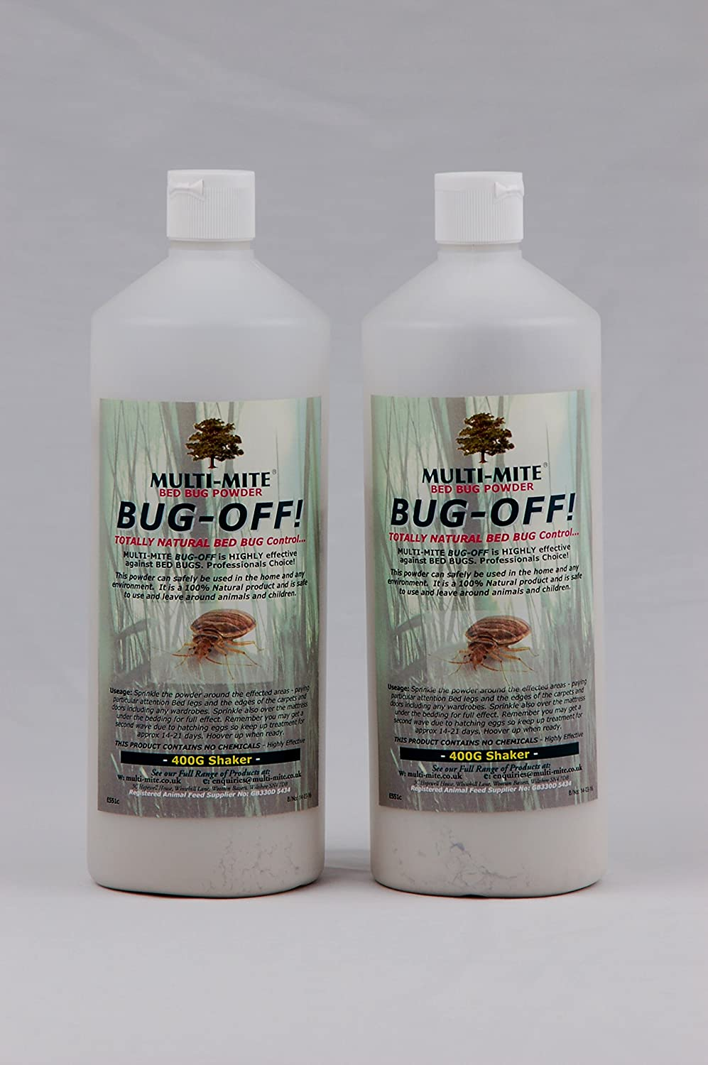 Bed Bug Powder - BUG-OFF - TWIN PACK 2 x 400GRAM SHAKER Multi-Mite® - FREE SHIPPING! MM-SHKR
