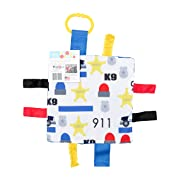 Baby Sensory Crinkle & Teething Square Lovey Toy with Closed Ribbon Tags for Increased Stimulation: 8 X8  (Police)