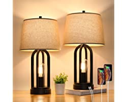 Touch Bedside Table Lamps with Rotary Switch Set of 2, 3-Way Dimmable Bedroom Living Room Lamps with USB Charging Ports, Indu