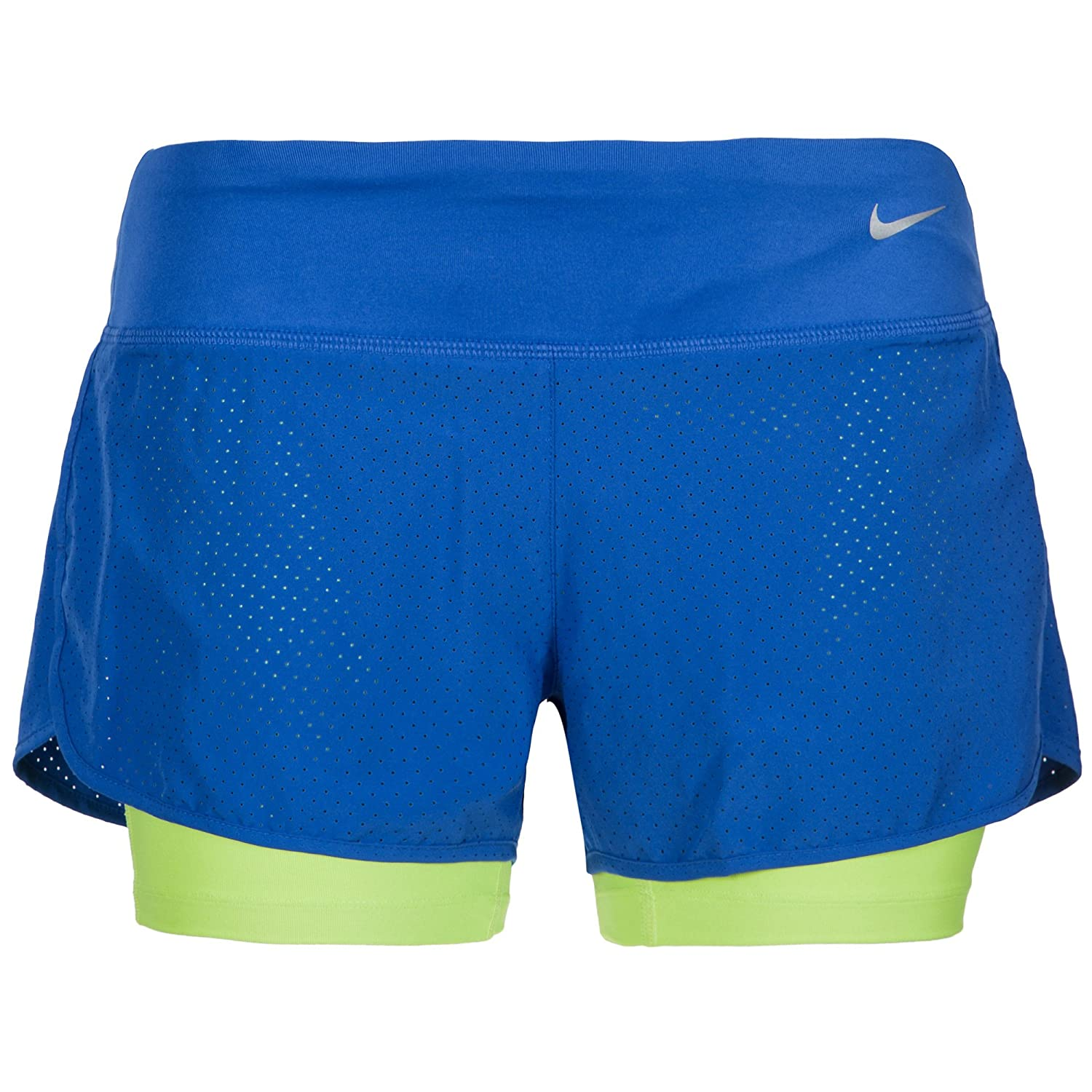 Nike Women's Dri-FIT Stay Cool 2- in - 1 Running Shorts Size M Blue/Lime Green