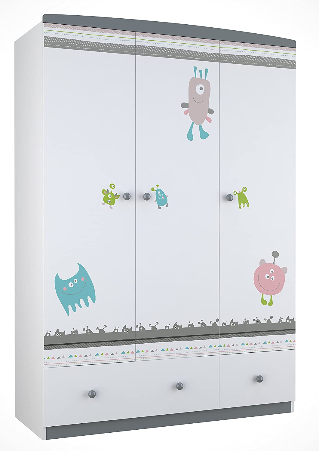 Polini Kids Kinder Kleiderschrank Basic Monsters 3-türig grau weiß, 1188-2