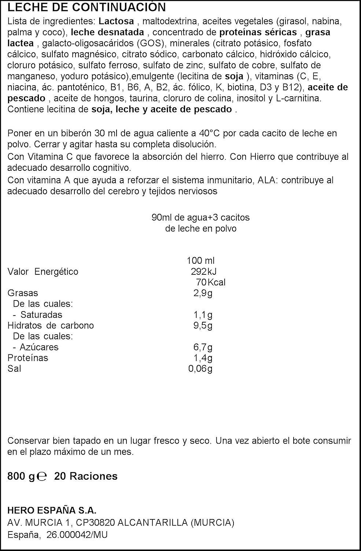 Hero Baby - Leche Hbb Nutrasense 2.800 g - 6 A 12 Meses: Amazon.es: Alimentación y bebidas