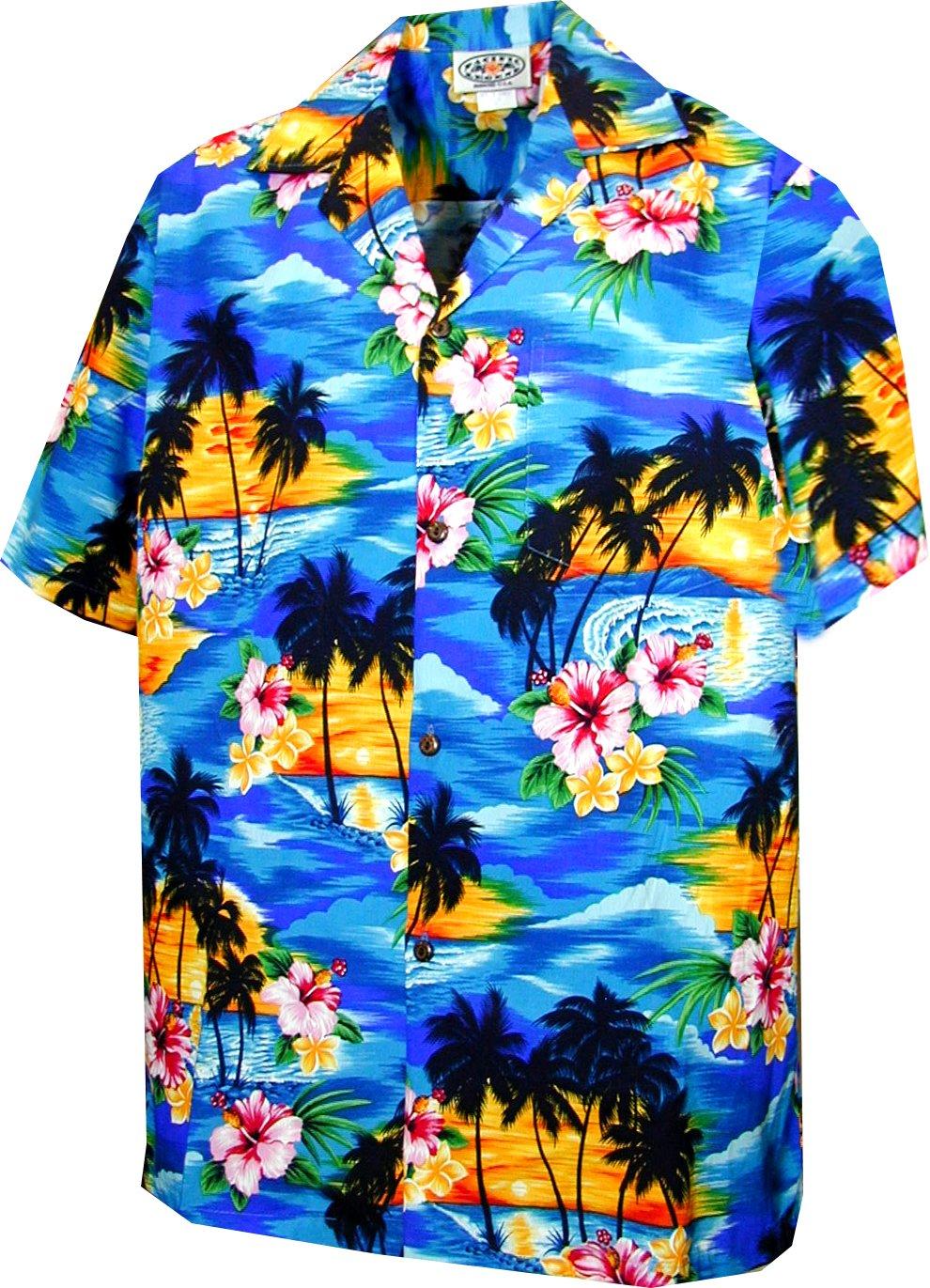 Pacific Legend Boys Brilliant Hawaiian Island Sunset Shirt BLUE M