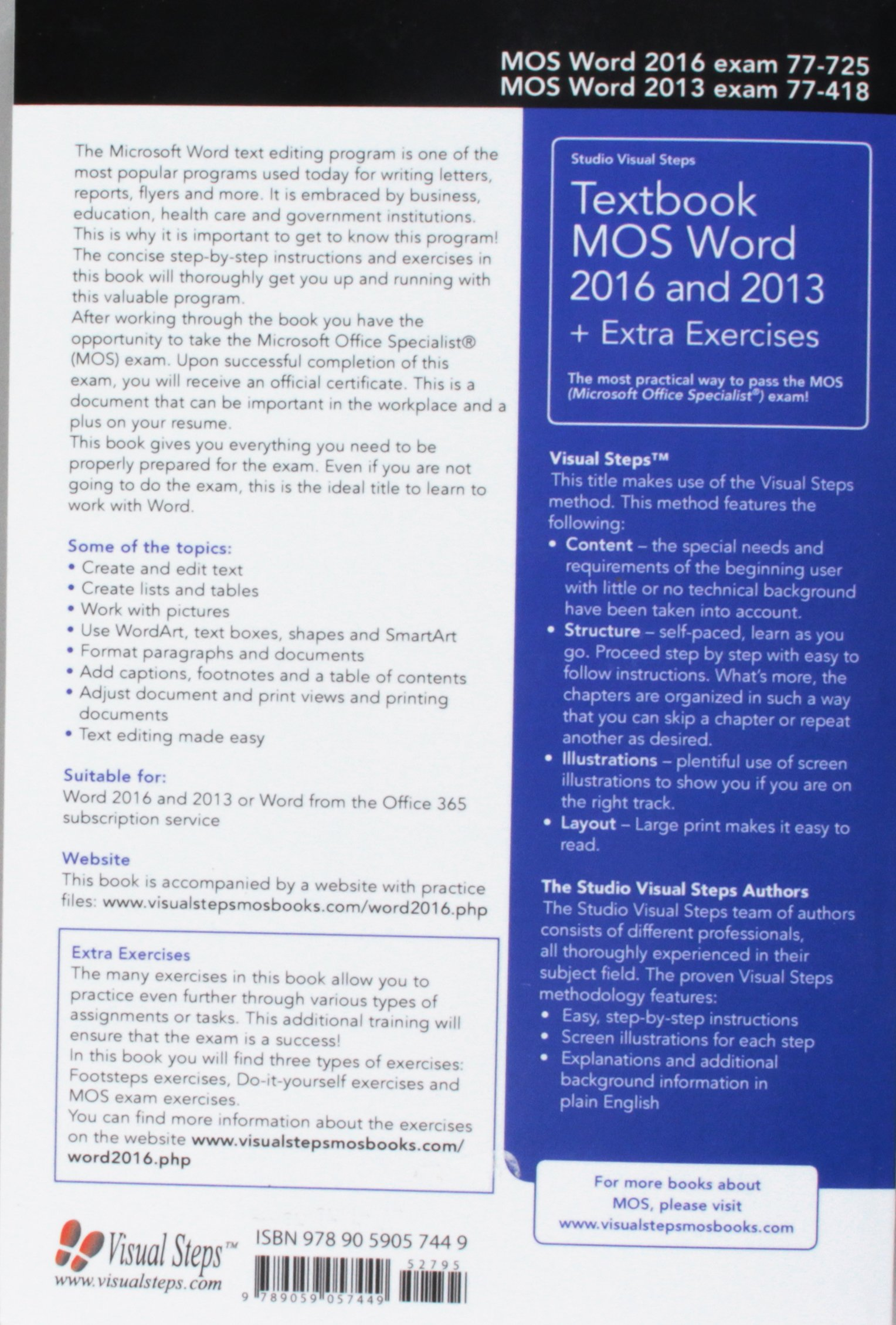 Textbook MOS Word 2016 and 2013 + Extra Exercises: The most