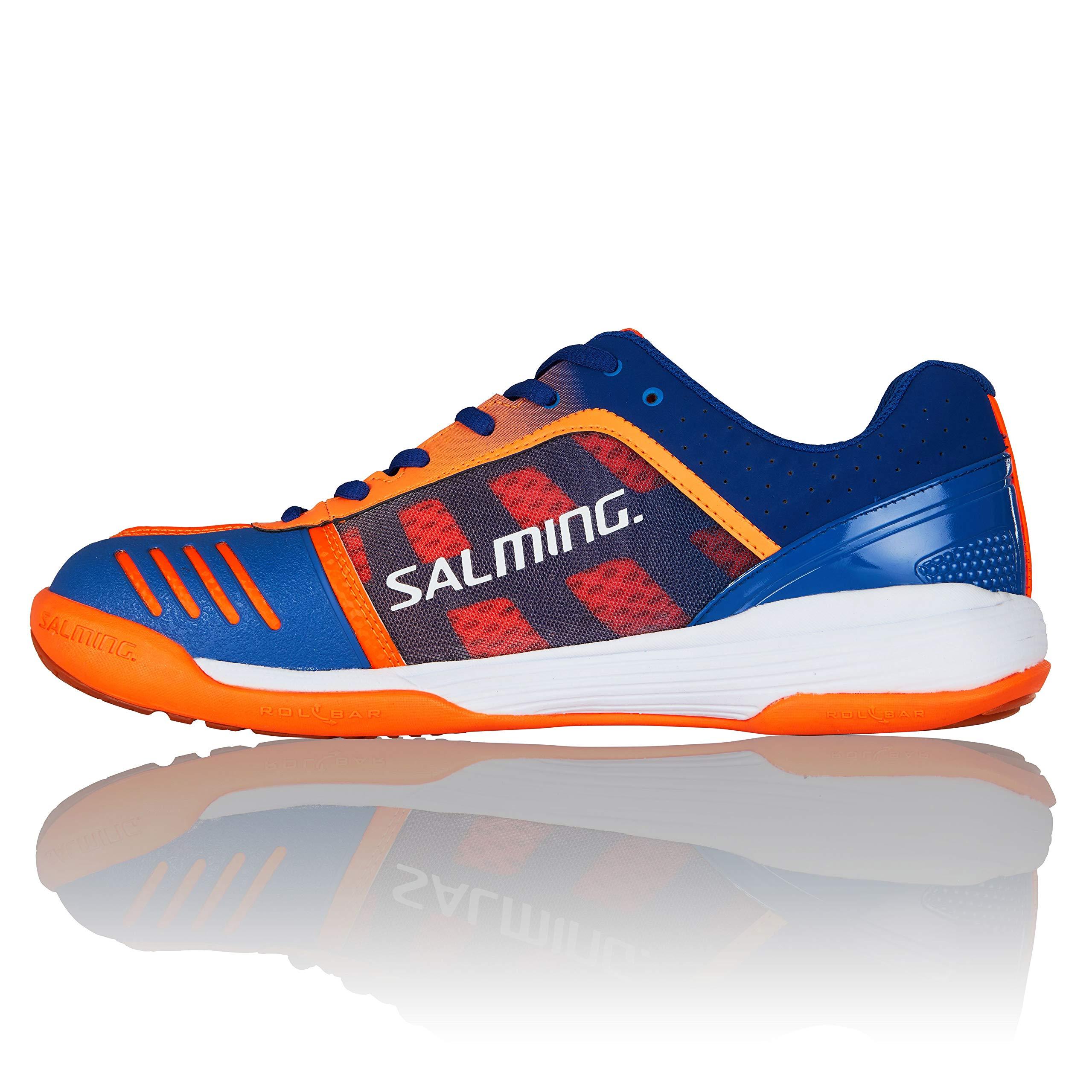 Salming Men's Falco Squash Indoor Court Sports Shoes, Limoges Blue/Orange Flame, 8