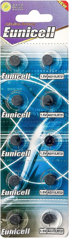 LR721 10 Eunicell AG11 LR58 Expire Date Marked 362 Button Cell 1.5V Battery Long Shelf Life 0/% Mercury