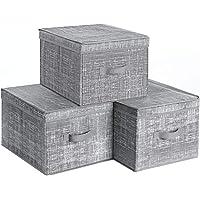 SONGMICS RYFB03LG zestaw 3 sztuk pudełko do przechowywania z pokrywką, składane pudełka z materiału z uchwytem na…