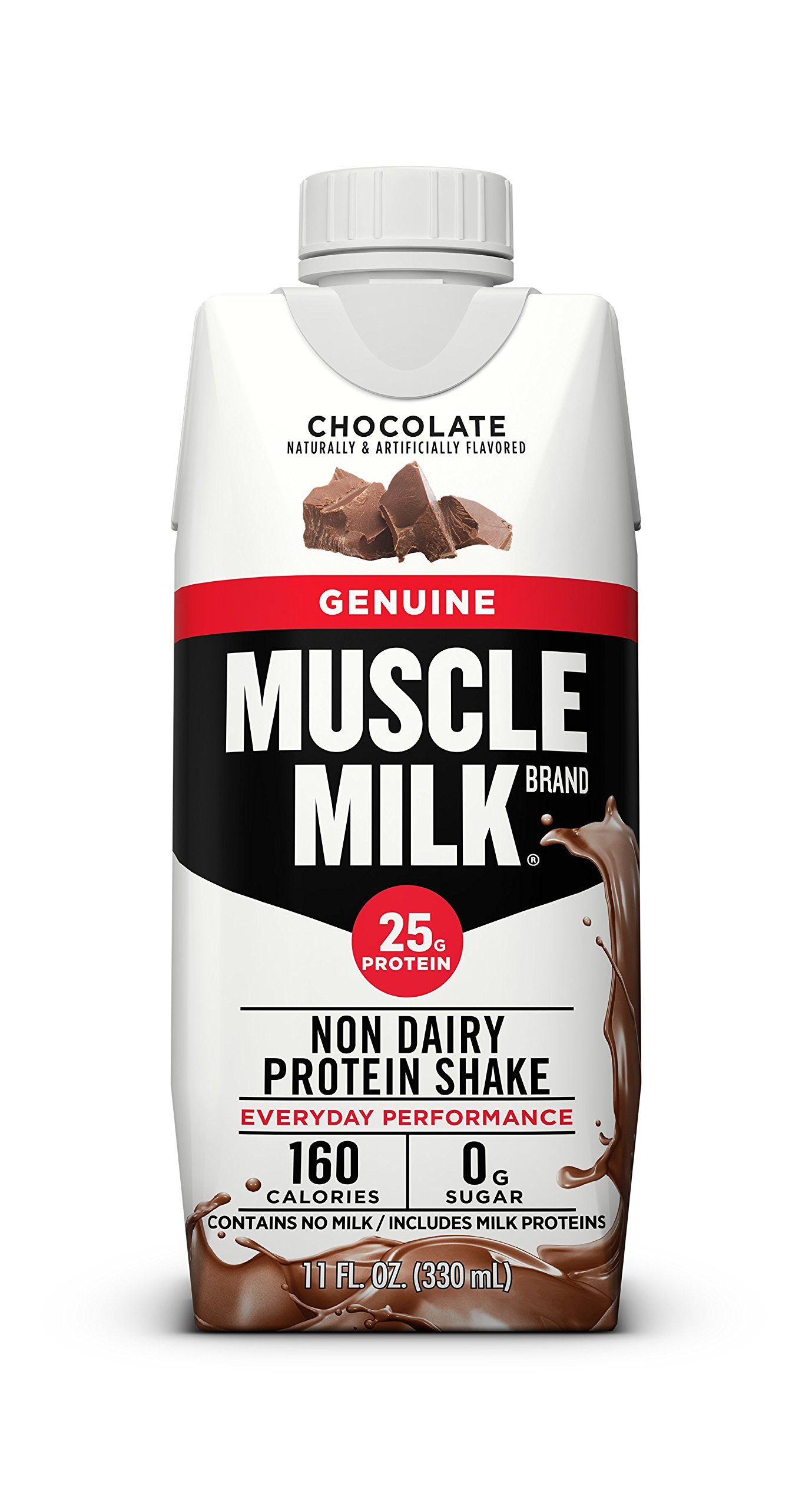 Muscle Milk Genuine Protein Shake, Chocolate, 25g Protein, 11 FL OZ, 12 Count by CytoSport