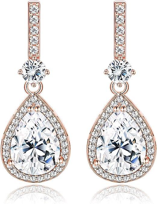 Faux pearl teardrop earrings with sterling silver leverback earwires bridal wedding