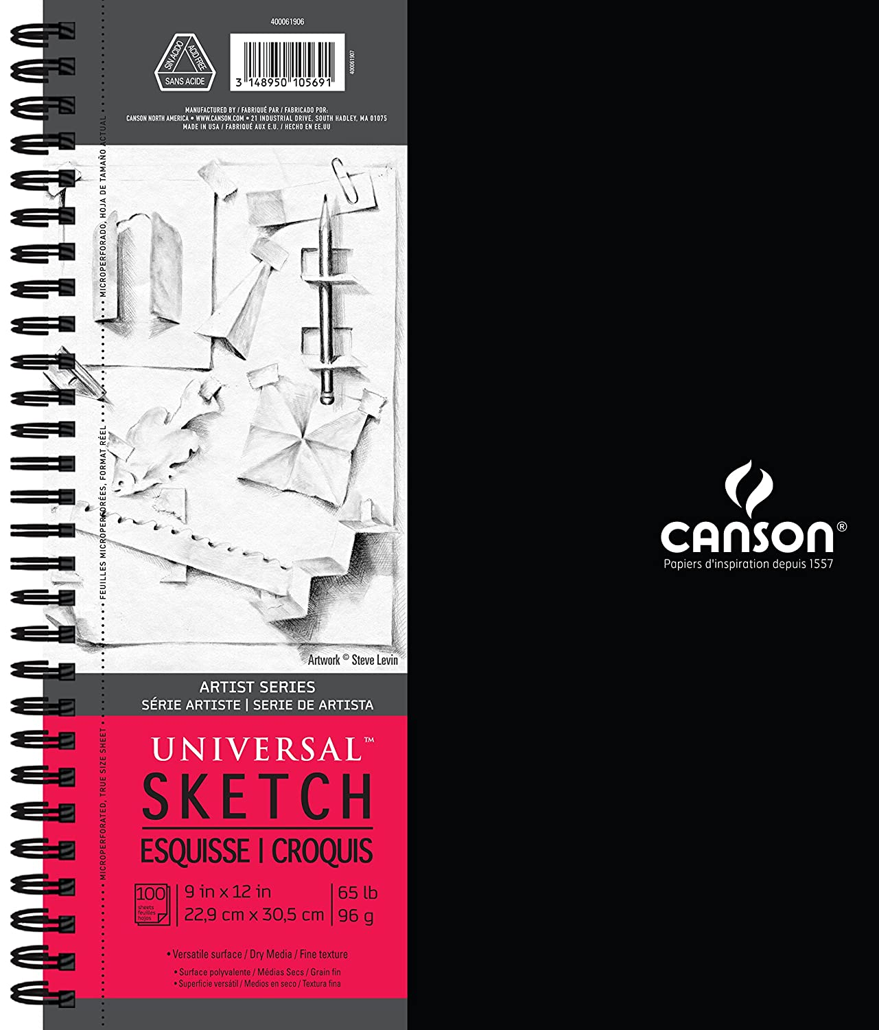 Canson Artist Series Universal Paper Sketch Pad, for Pencil and Charcoal, Micro-Perforated, Side Wire Bound, 65 Pound, 9 x 12 Inch, 100 Sheets Canson Inc 400061906