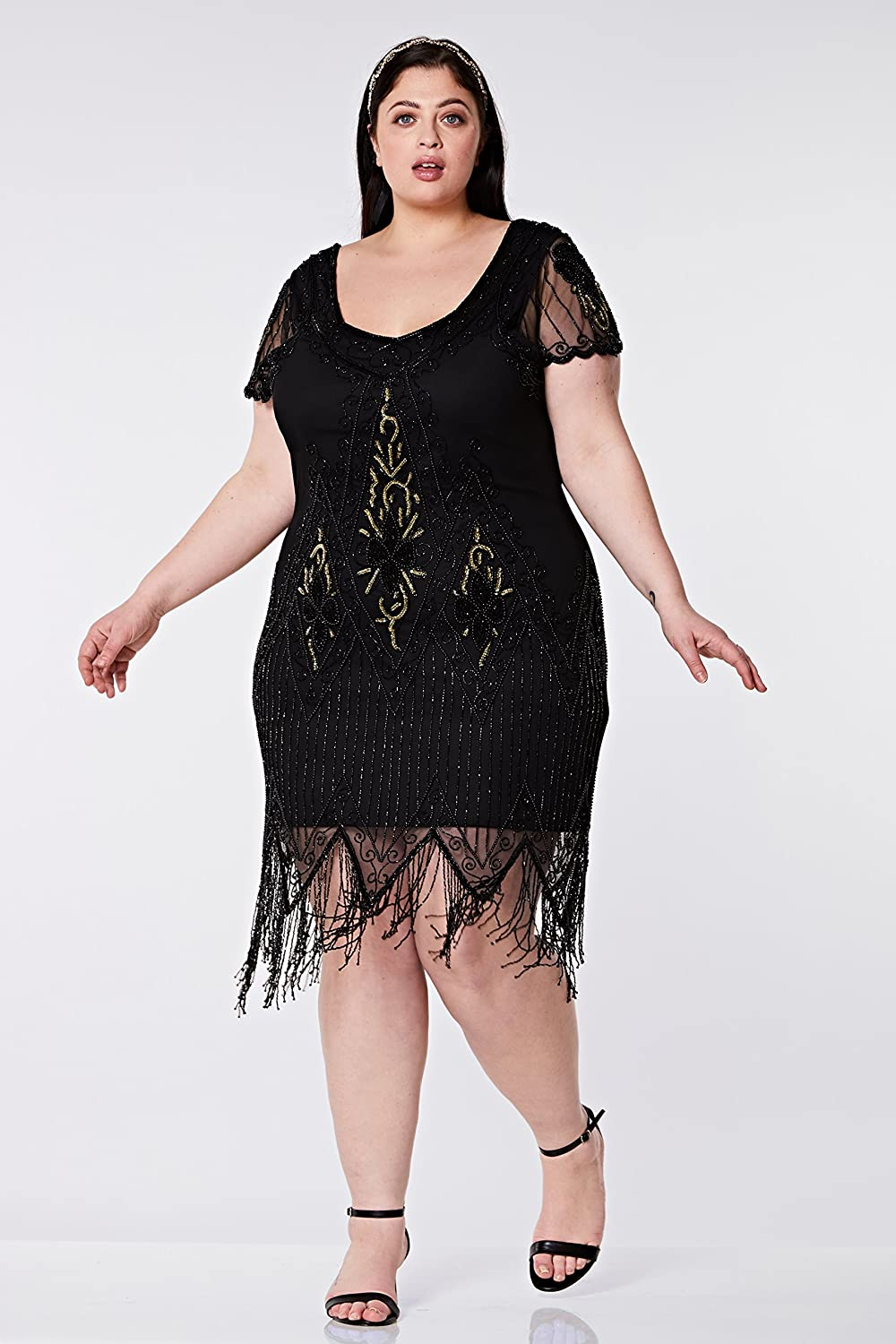 1920s Plus Size Flapper Dresses, Gatsby Dresses, Flapper Costumes gatsbylady london Annette Vintage Inspired Fringe Flapper Dress in Black Gold $124.86 AT vintagedancer.com