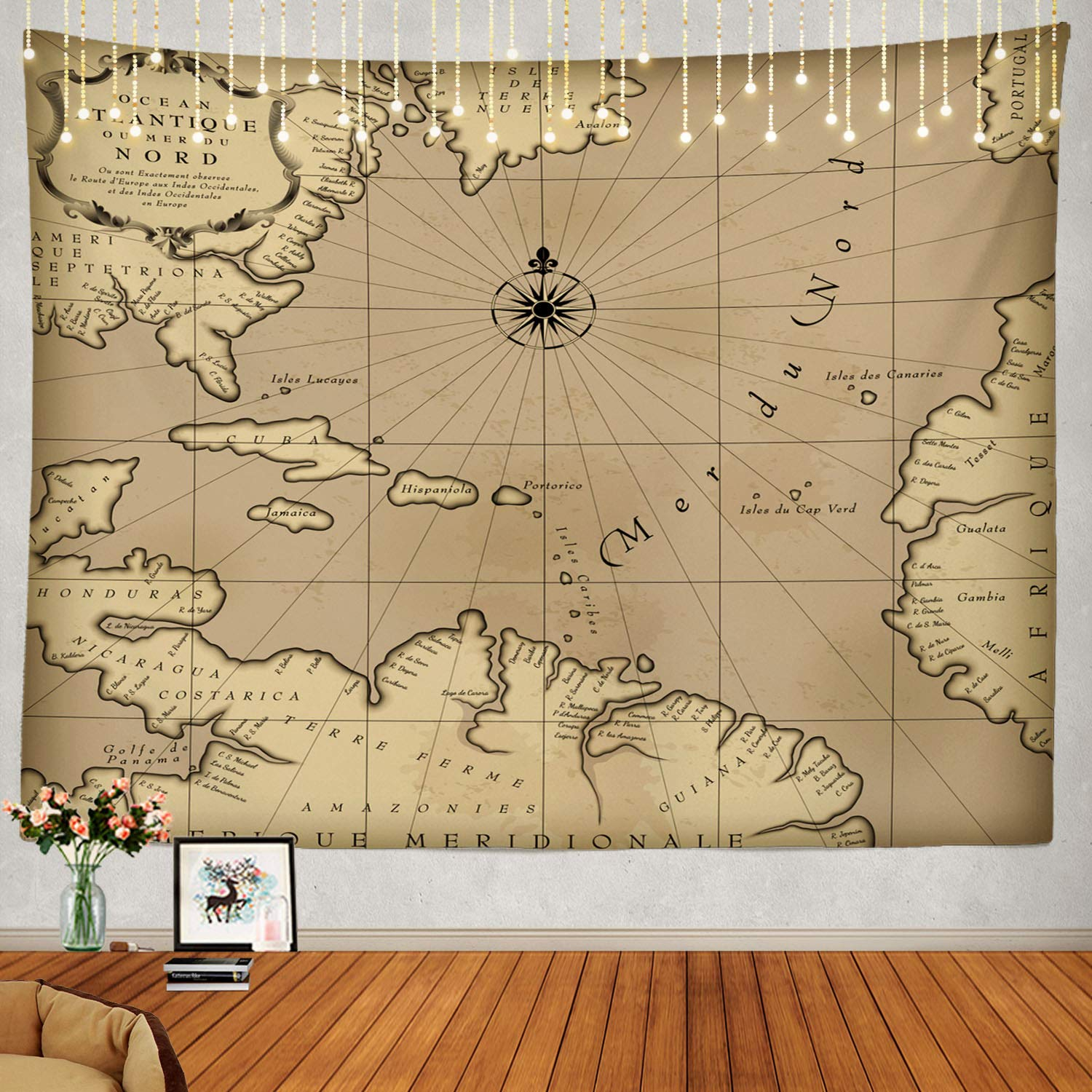 Amazon.com: Shrahala Map Tapestry, Old Geographic Map of ...
