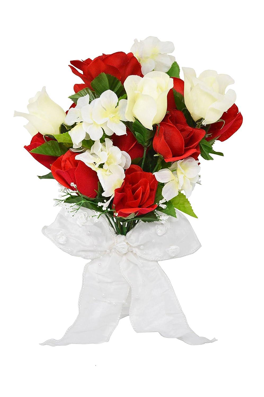 赤、アイボリーブライダルローズブーケ – ウェディングローズブーケ – ブライダルウェディングフラワーブーケ – 花装飾Centerpiece B079H4BHWJ