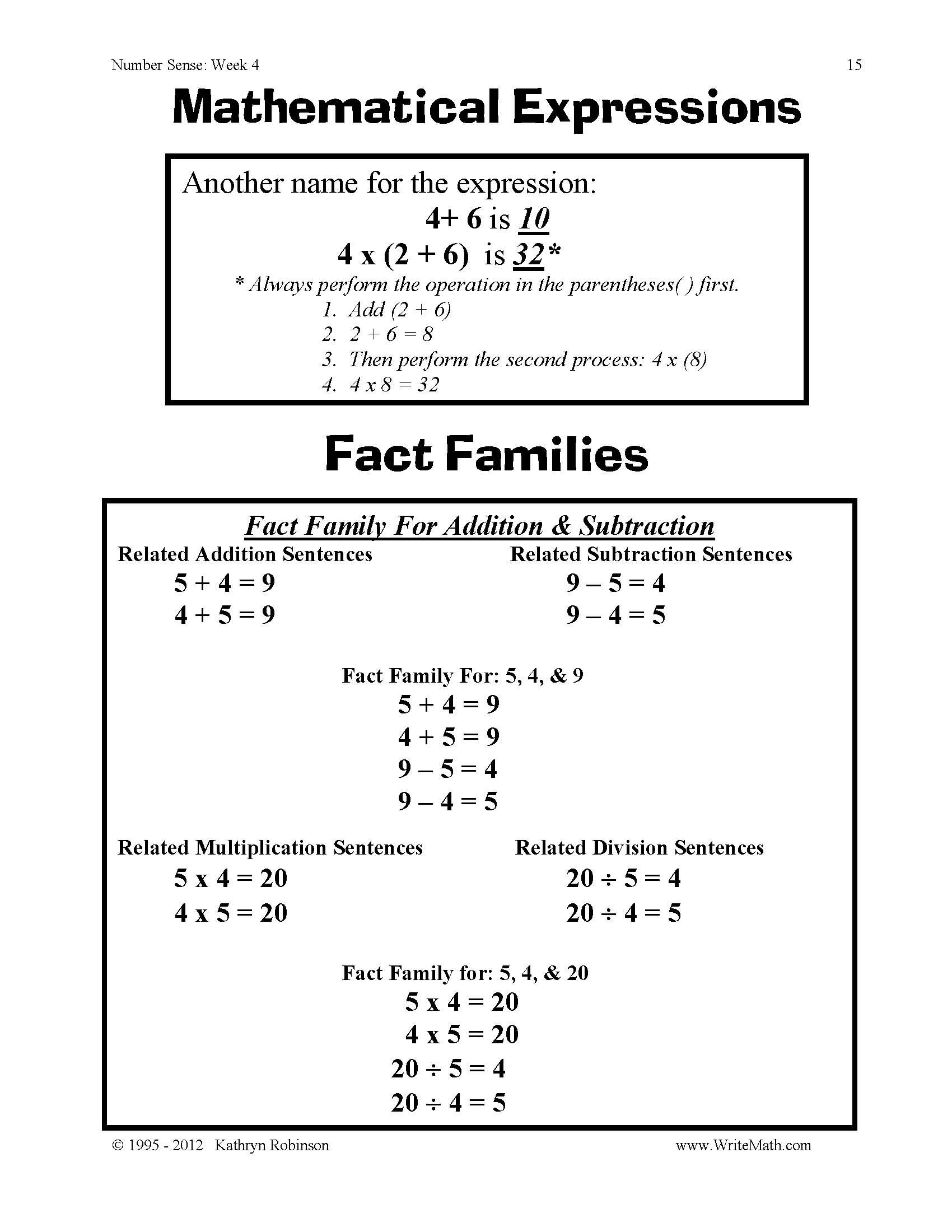 Number Sense Worksheets – Math Number Sense Worksheets