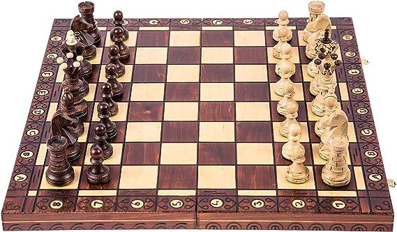 Scacchiera 35x35 cm Kh 65 mm Legno Scacchi; Torneo 3 Scacchi Staunton No