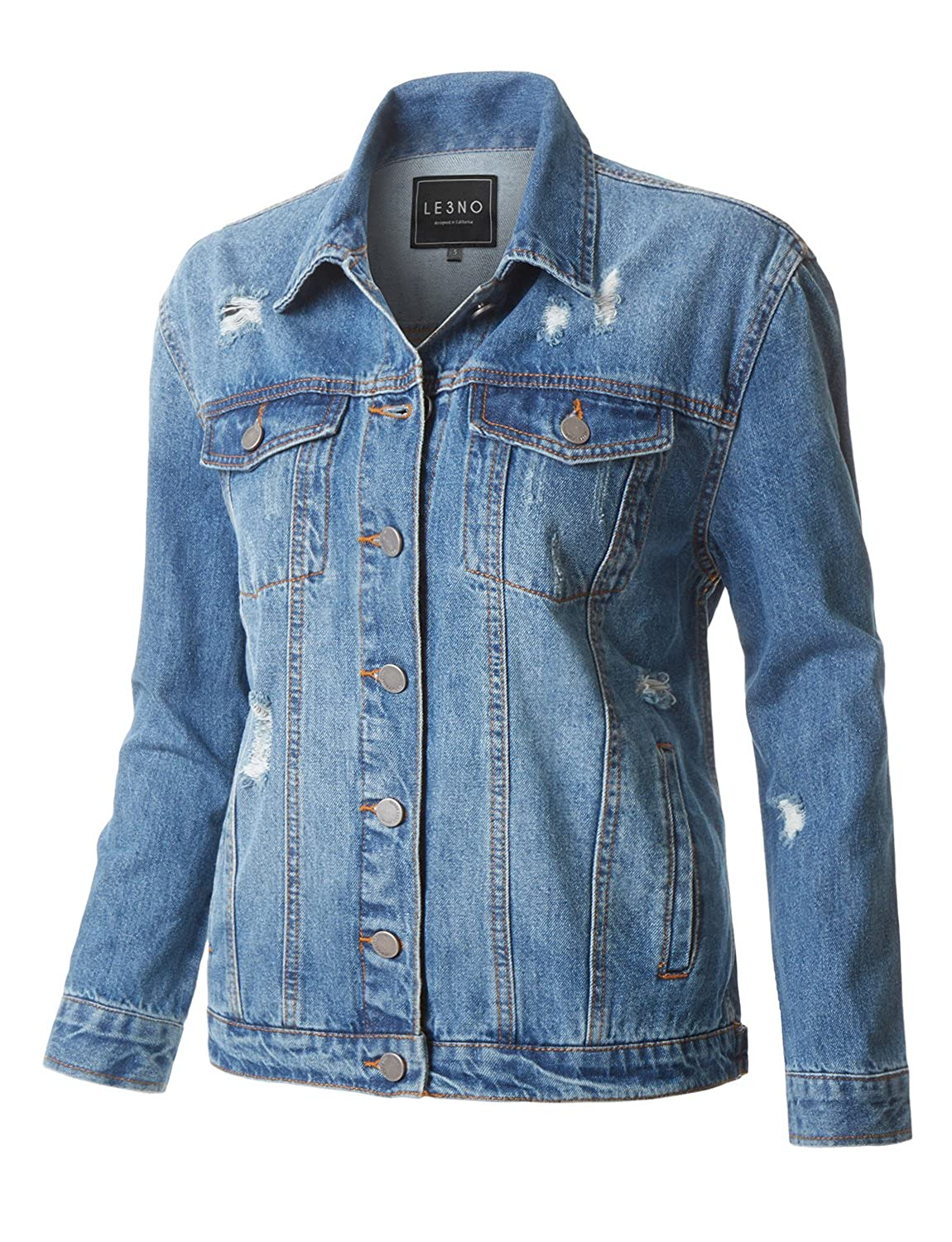 ac2ad671 Womens Casual Vintage Ripped Distressed Long Sleeve Oversized Boyfriend Fit Denim  Jean Jacket at Amazon Women's Coats Shop