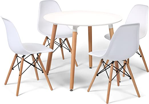 Juego de comedor diseño Eiffel con 4 sillas y pequeña mesa redonda ...