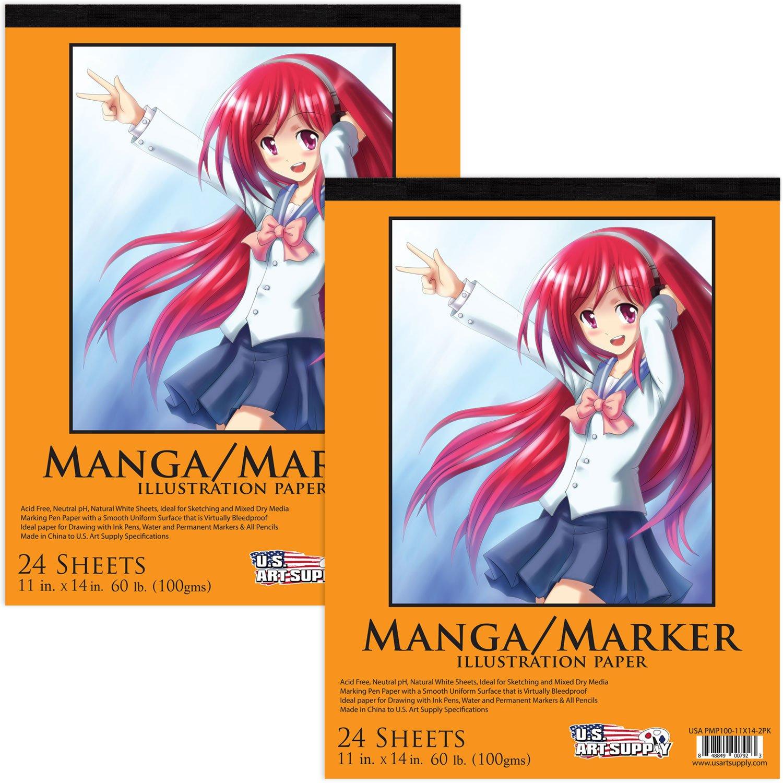 U.S. Art Supply 9' x 12' Premium Manga-Marker Paper Pad, 60 Pound (100gsm), Pad of 24-Sheets