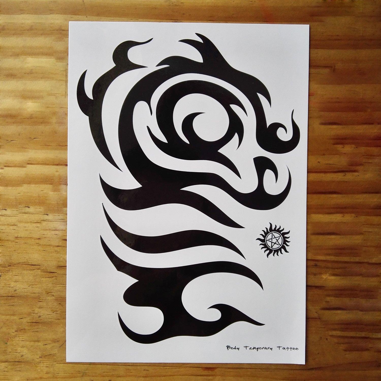 Leoars 6 Sheets Black Large Temporary Tattoos Big Tribal Totem Tattoo Sticker for Men Women Body Art Makeup Fake Tattoo Waterproof Removable by Leoars (Image #4)