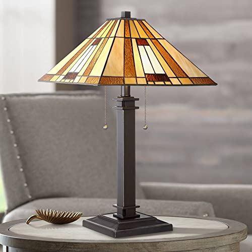 Giselle Mission Accent Table Lamp Bronze Antique Amber Art Glass Shade for Living Room Family Bedroom Bedside Nightstand – Robert Louis Tiffany