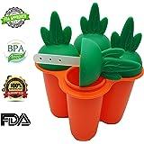 通用婴儿儿童婴幼儿冰棒模具冰 POP 机 W / drip 追 HEALTHY 水果零食食品级不含 BPA 来自 bambini Bear–胡萝卜橙色