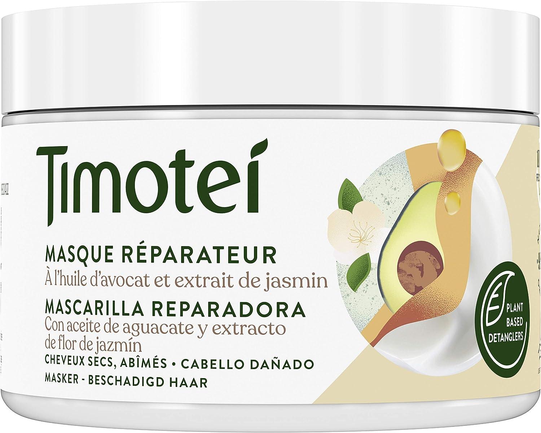 Timotei mascarilla reparadora para cabello dañado con aceite de aguacate y extracto de flor de Jazmín; con desenredantes de origen vegetal, 98% ...