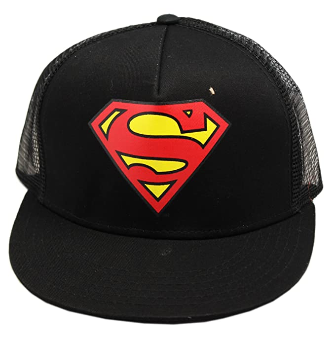 ea4b1a6aebf Image Unavailable. Image not available for. Color  Black Adjustable  Snapback Superman Trucker Hat